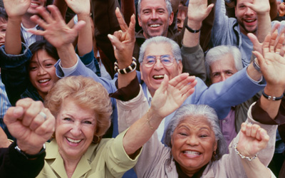 Senior Adults with Hands up